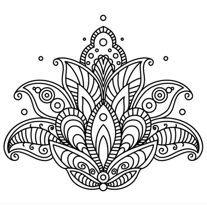 bilder zum ausmalen, großer lotus, lotusblume mit mandala motiven, kleine kreise, tattoo vorlage