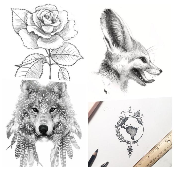 bilder zum malen ideen, wolf mit federn, weiße rose, fucks mit großen augen, globus mit schiff