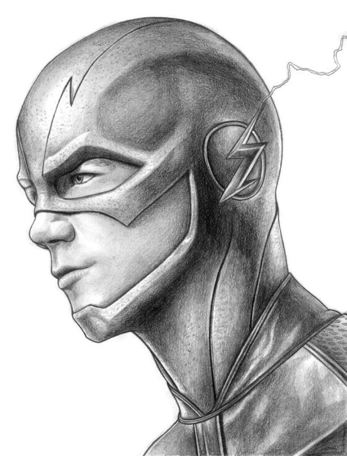bilder zum malen, mann, realitische zeichnung in schwarz und grau, superheld zeichnen, donner