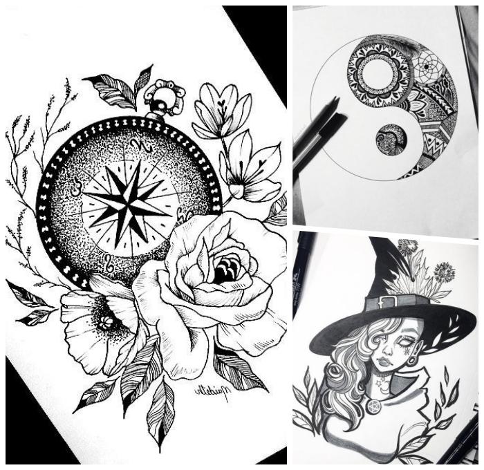 bilder zum malen ideen, kompass in kombination mit blumen, frau mit lockige haare, hexe, tattoo vorlagen