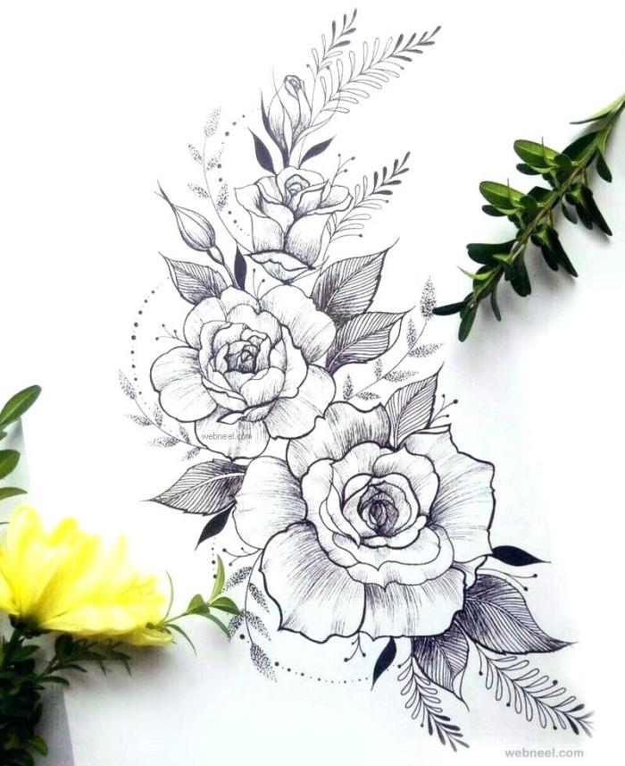 bilder zum malen ideen, tattoo vorlagen, rosen mit blätternn und kleinen punkten, schöne bilder zum selber malen