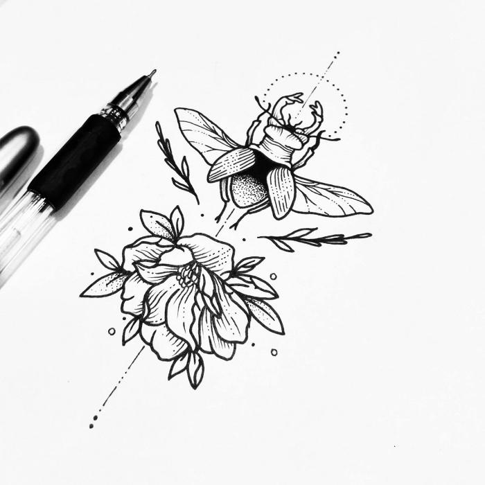 bilder zum malen, schöne bilder zum selber malen, insekt und blüte, schwarzer kugelschreiber