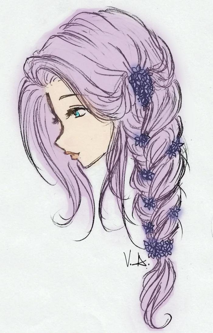 mädchen zeichnen, lange lila haare, großer zopf, kleine blüten in haaren, bilder zum nachmalen, blaue augen