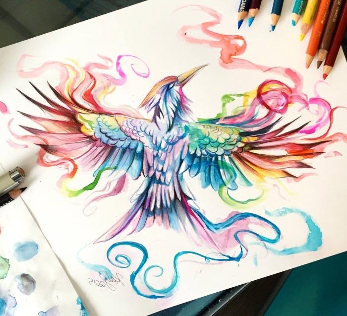 bilder zum nachmalen, fliegender vogel, farbige zeichnung, bunte farbstifte, schöne bilder zum zeichnen