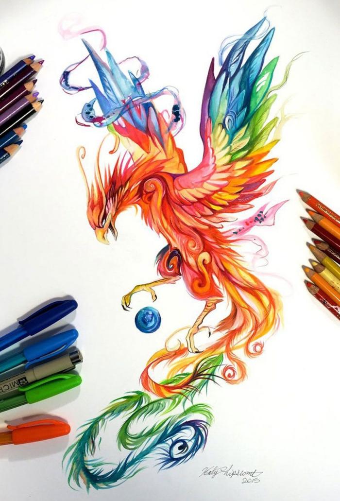 bilder zum nachmalen, fönix zeichnen, fliegender vogel, bunte farbstifte, farbige zeichnung ideen