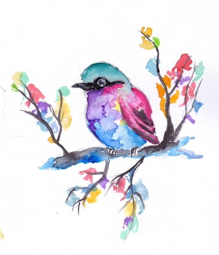 bilder zum nachmalen, kleiner vogel am zweig, malen mit wasserfarben, schöne bilder zum zeichnen