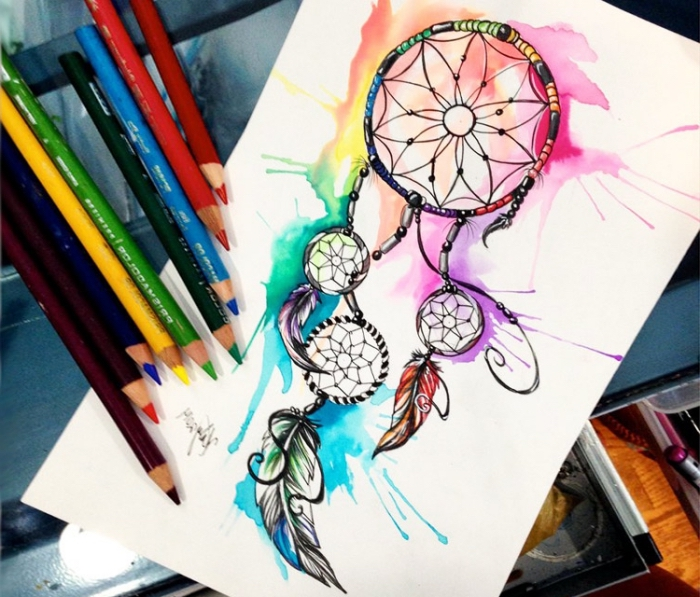 traumfänger zeichnung, wasserfarben, bilder zum nachmalen, schöne bilder zum zeichnen, bunte farben
