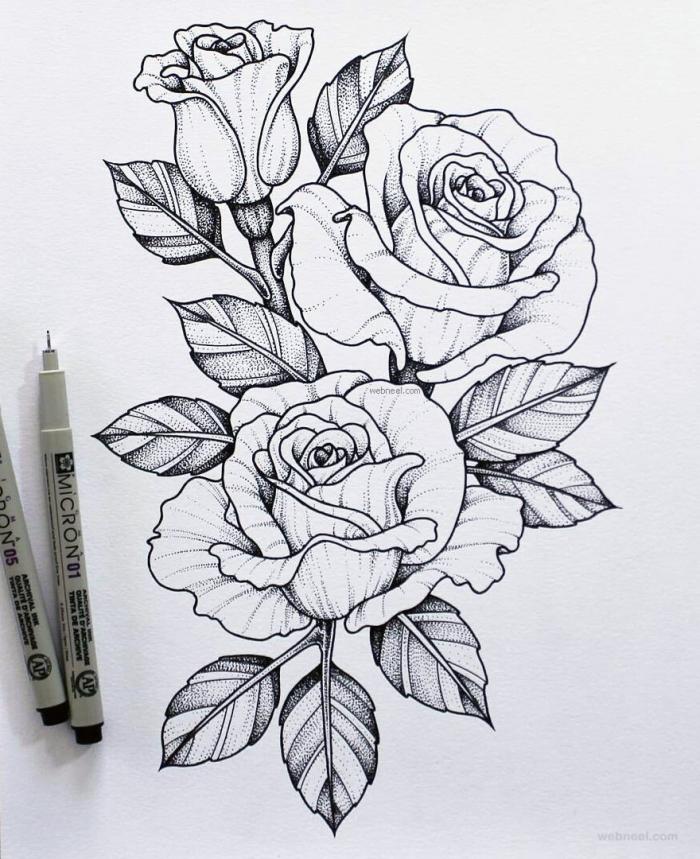 bilder zum nachzeichnen, drei rosen mit blättern, tattoo vorlage, tätowierungen für frauen ideen