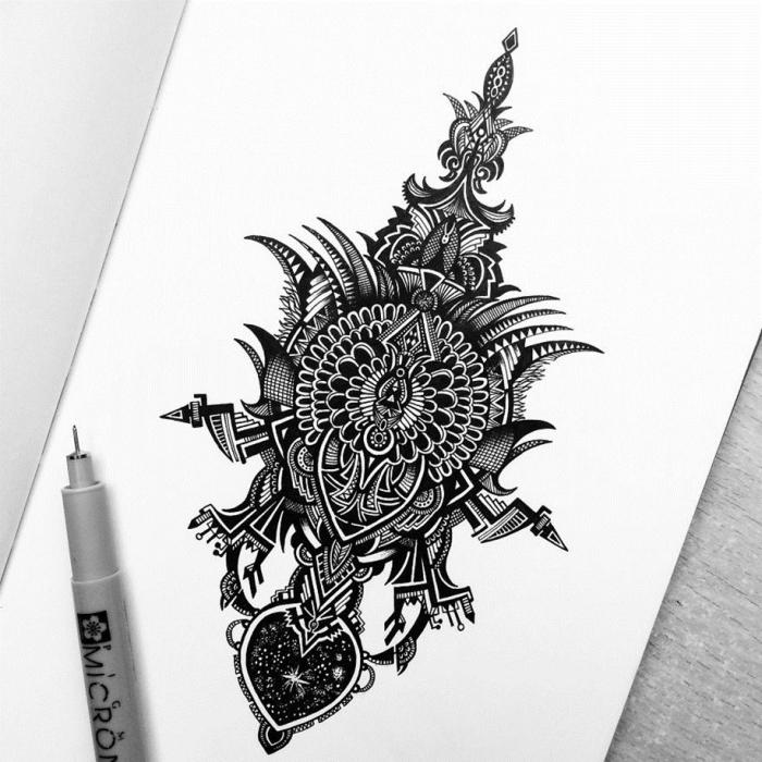 bilder zum nachzeichnen, zeichnungen ideen, dettailierte zeichnung, schwarzer kugelschreiber