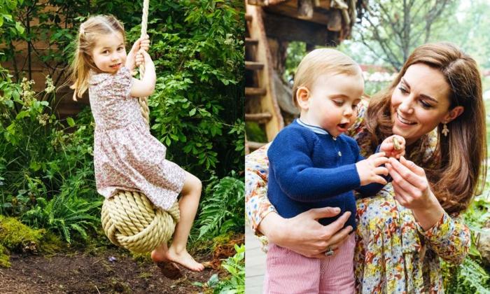 die kleine Prinzessin und der jüngste Prinz spielen im Garten und von ihnen sind schöne Fotos gemacht