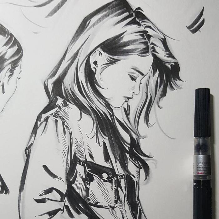 mödchen malen ideen, frau mit schulterlangen haaren und jeansjacke, coole bilder zum zeichnen