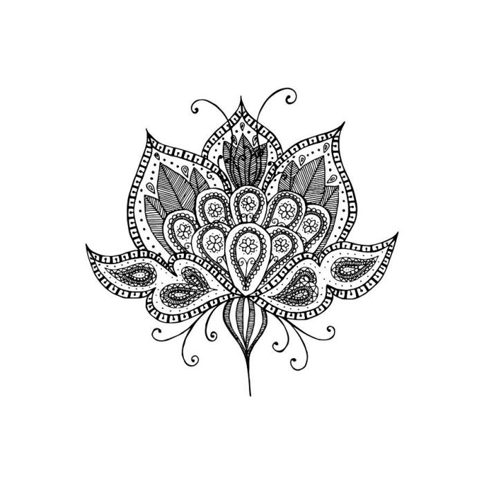 coole bilder zum zeichnen, mandala malen, lotusblume mit geometrischen und floralen motiven, lotus