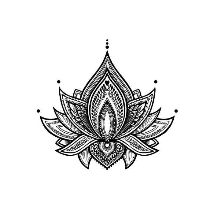 coole bilder zum zeichnen, mandala malen, lotusblume in kombination mit kleinen geoemtrischen elementen