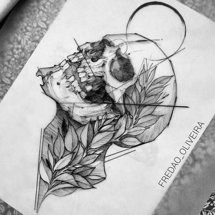 coole bilder zum zeichnen, schädel mit zweig mit blättern, totenkopf zeichnen, tattoo ideen