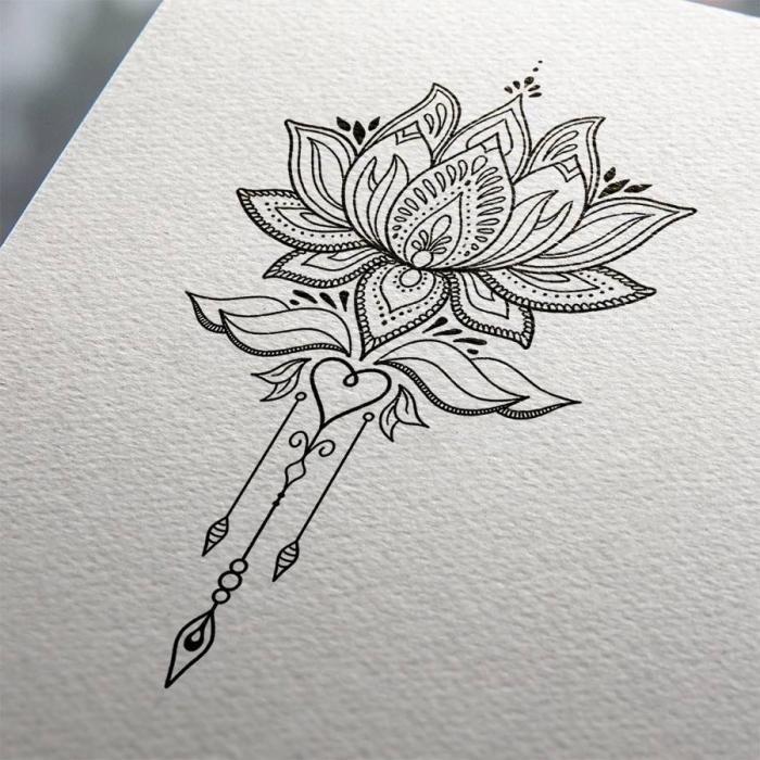 coole bilder zum zeichnen, tattoo vorlage ideen, lotusblume mit mandala motiven, herz, pfeile