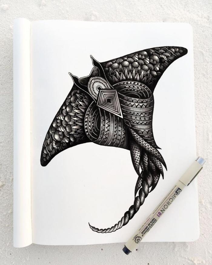 coole bilder zum zeichnen, tier totem, detaillierte zeichnung, geometrische motive, samoanische motive