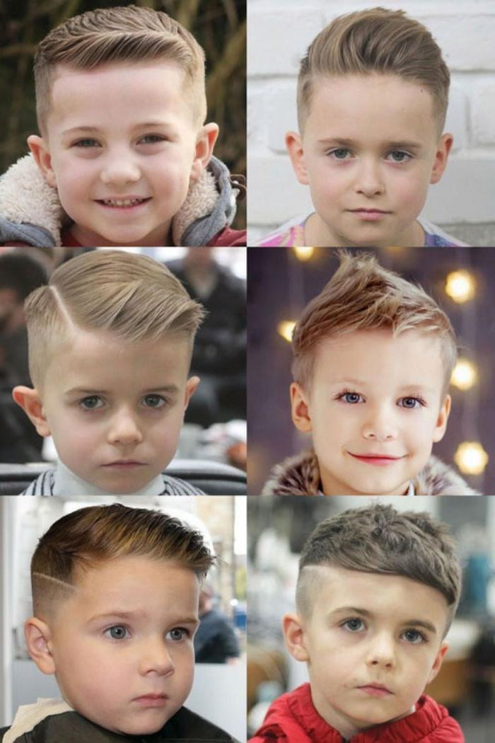 Trendy Frisuren für Jungs, sechs kleine fotos auf einmal collage mit frisur ideen für kinder