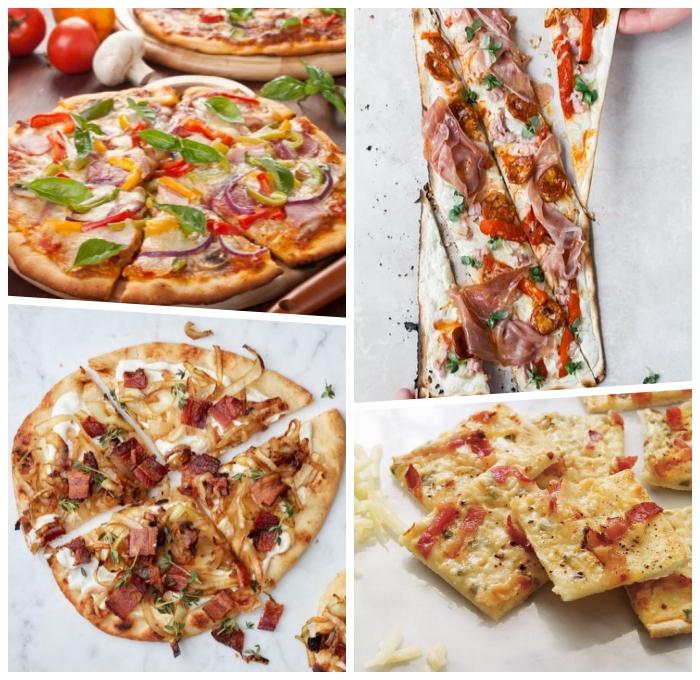 partyessen zubereiten, pizza ideen, der beste flammkuchen rezept, velag mit gemüse und käse, vegetarisch