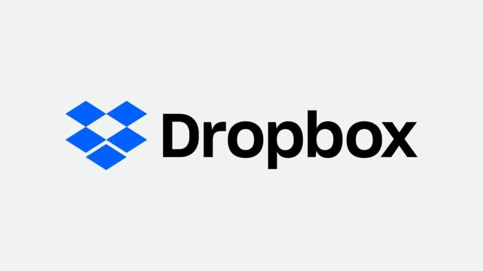 Dropbox Logo weißer Hintergrund, blauer Box, schwarze Buchstaben
