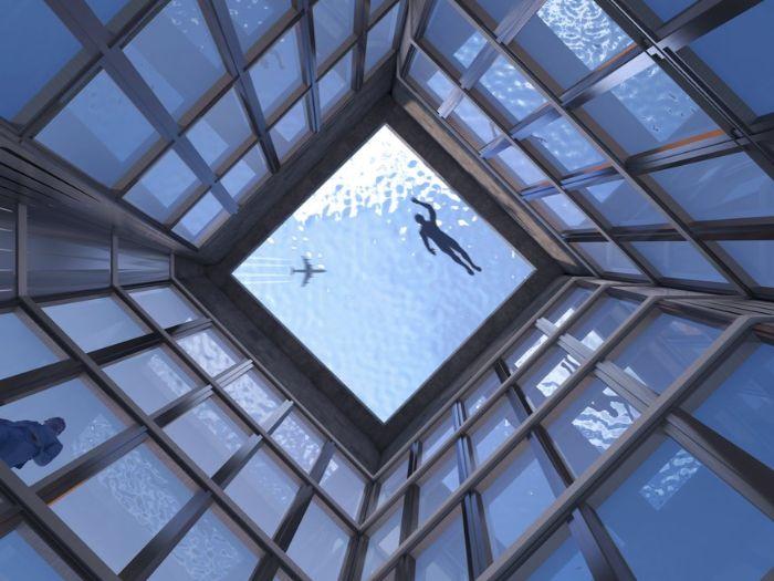 ein gebäude mit vielen blauen fenstern, hotel mit besuchern, ein schwimmbad mit transparentem boden und schwimmern, das projekt infinity pool