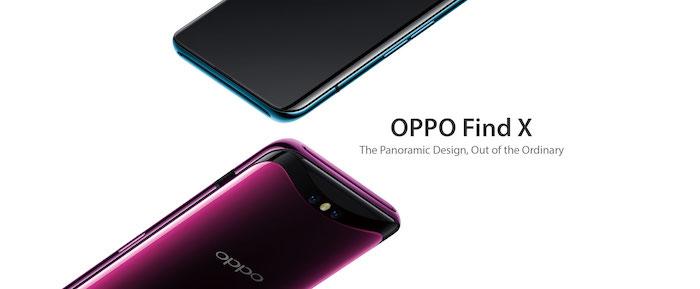 ein blaues smartphone mit einem schwarzen dsplay mit einer hinter dem bildschirm versteckten frontkamera, ein violettes smartphone von oppo