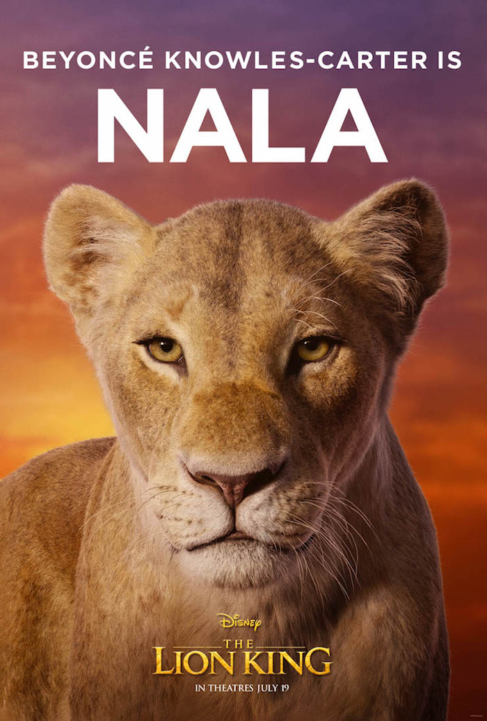 die junge löwin namens nala, gespielt von der sängerin beyonce, eine löwe mit großen gelben augen, der könig der löwen poster