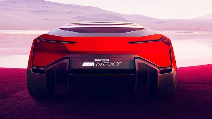 das neue elektorauto von bmw namens bmw vision m next, ein rotes auto