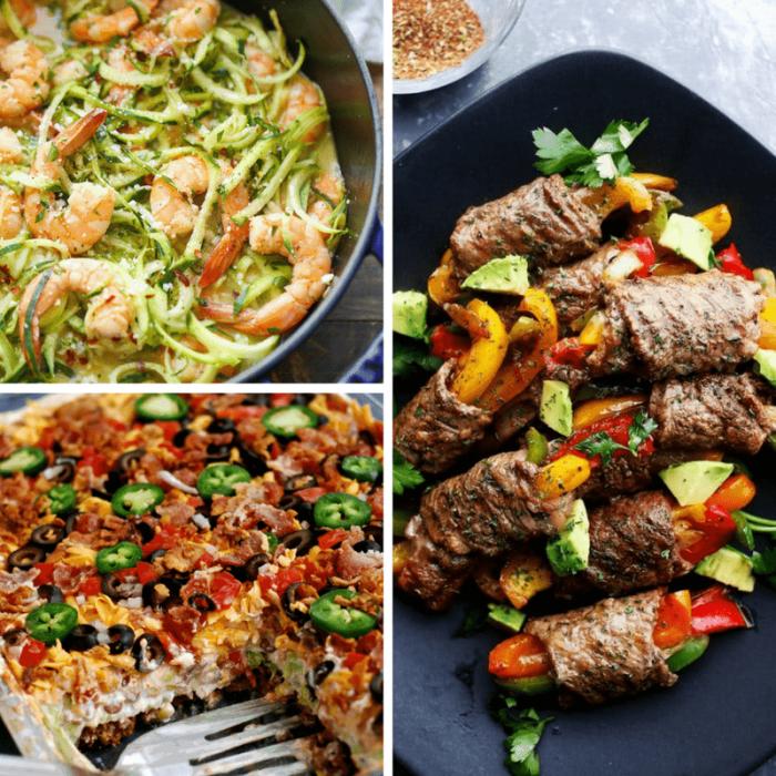 rollen aus paprikas und fleisch, einfache low carb rezepte, garnelen mit salat aus zucchini