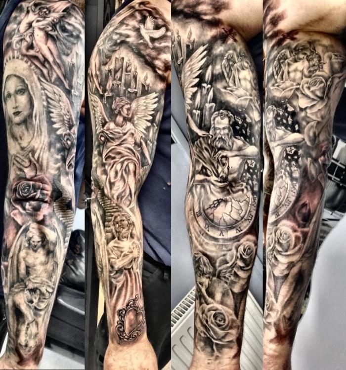 engel tattoo arm, sleeve tattoo ideen, große detaillierte tätoweirung mit realitischen motiven, uhr, taschenuhr