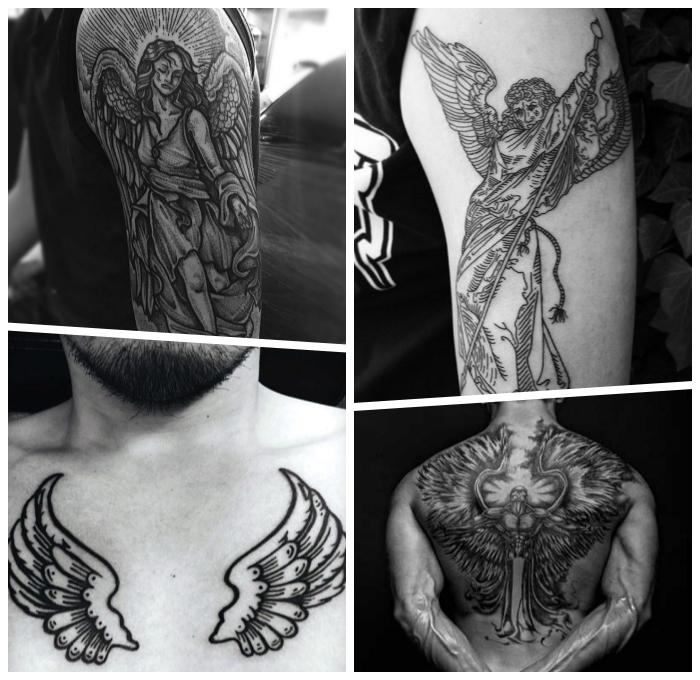 engelsflügel tattoo am brust, mann mit detaillierter tätowierung an der brust, großes rücken tattoo