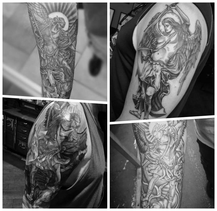 erzengel michael tattoo gesigns für männer, schwarz graue tätowierungen, realitische motive