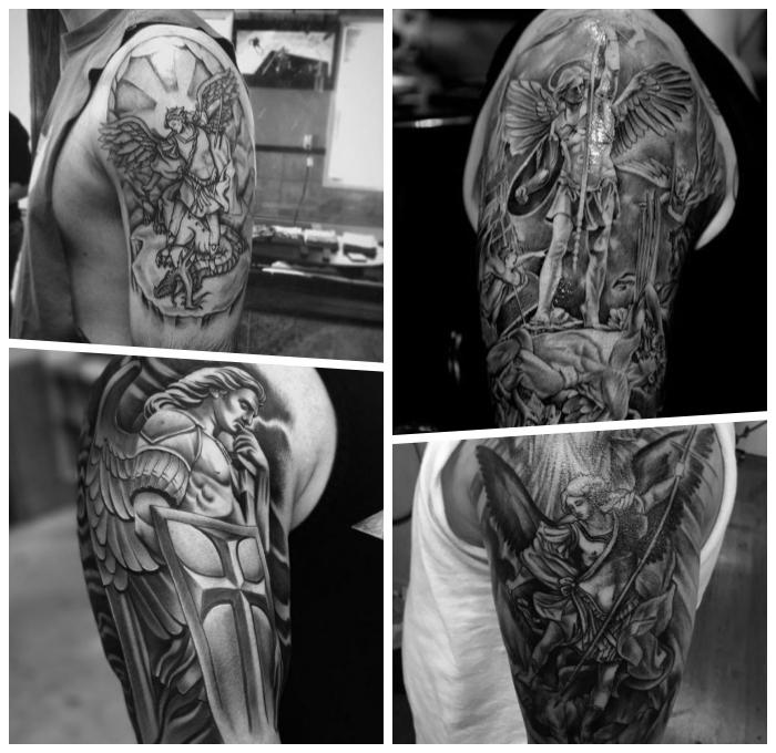erzengel michael tattoo ideen, realitische tätowierungen am arm, schwarz graue tattoos, männer