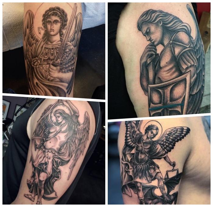 erzengel michael tattoo, realitische tätowierungen mit religiösen motiven, mann mit schwert und schild, schutzengel