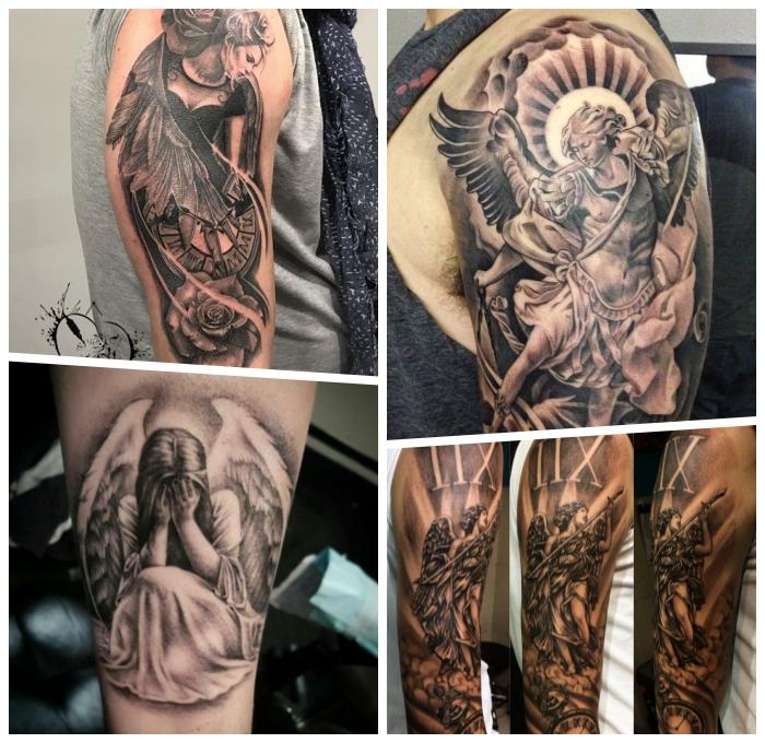 erzengel michael tattoo, relitische 3d tätowierungen, tattoo am arm stechen lassen, schutzengel