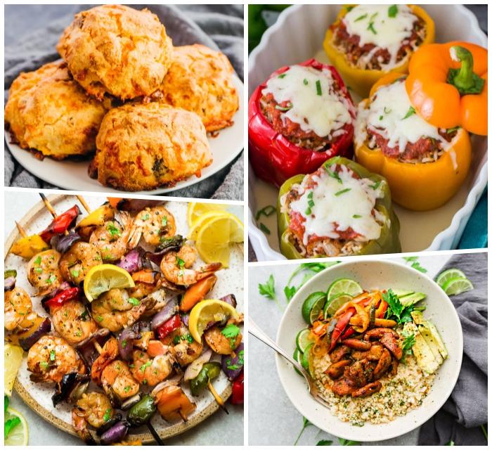 essen ohne kohlenhydrate, gefüllte paprikas, spieße mit garnelen, abendessen ideen, low carb