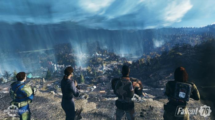 die vier Helden sehen die Landschaft von Zerstörung, eine Szene aus Fallout 76