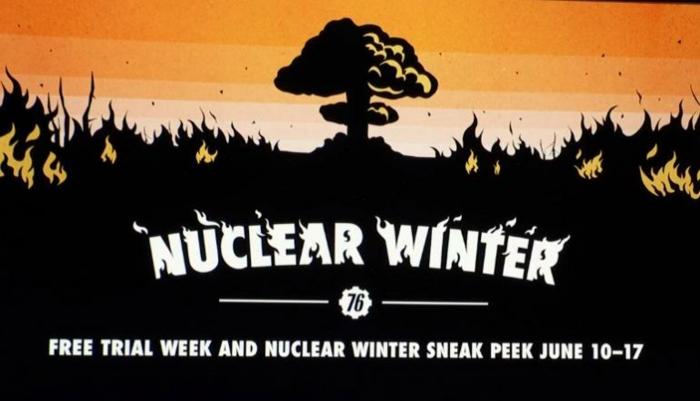 ein Bild von Atombombepilz, weiße Buchstaben, schwarzer Grass, eine Ankündigung von Fallout 76
