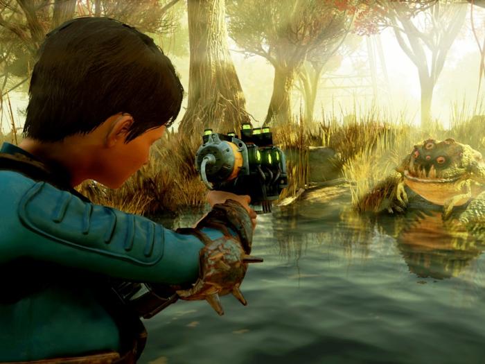 eine Heldin will einen muttierten Frosch erschießen in einem See, eine Szene aus Fallout 76