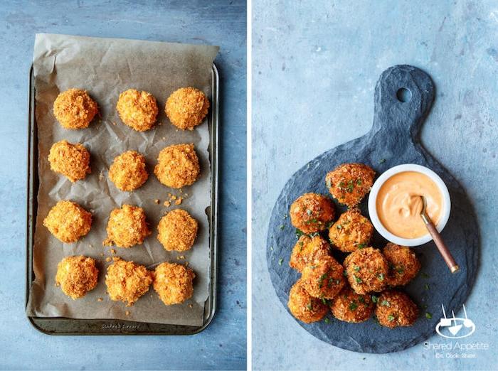 Leckere Hühnerbisse mit Soße, kleine Snacks für Party selber zubereiten, Fingerfood Idee