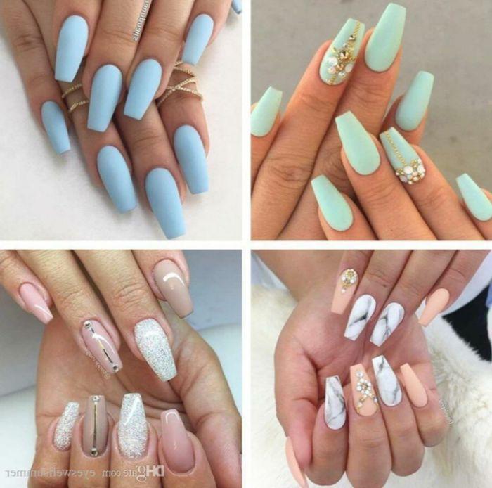 nagelformen trends, vier bilder von modernen maniküren, blau, beige, weiß, minze