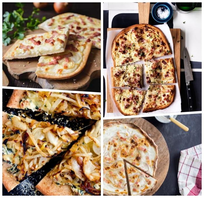 flammkuchen rezept, leckere rezepte für tarte flambee, pizza ideen, belag mit fleisch und käse, karamelisierte zwiebel