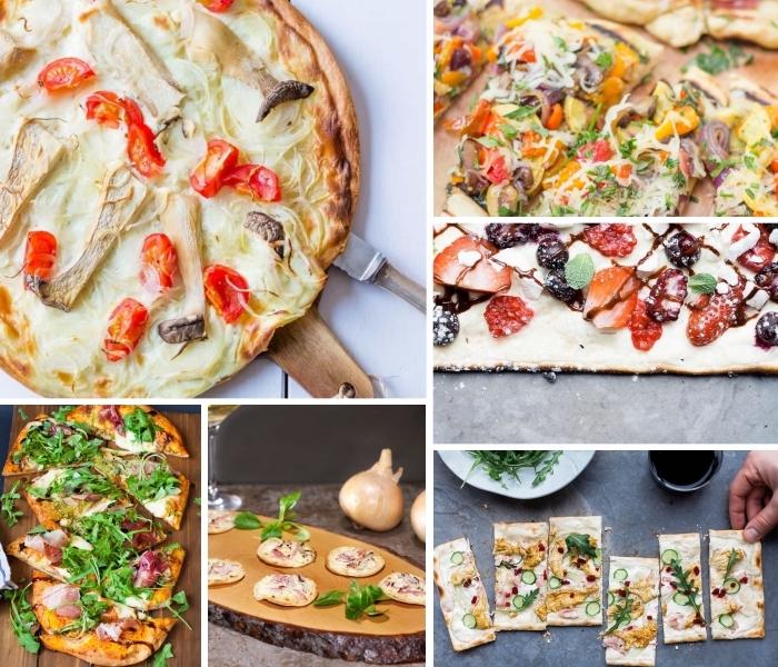 flammkuchen rezept, tarte flambee mit cherry tomaten, käse und fleisch, mini pizzas, partyessen ideen