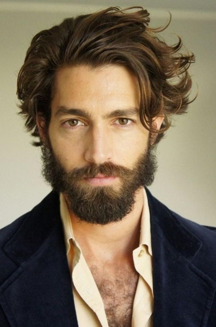 herren haarschnitt, haare nach hinten schön stylen, mann mit bart, hemd mit sakko