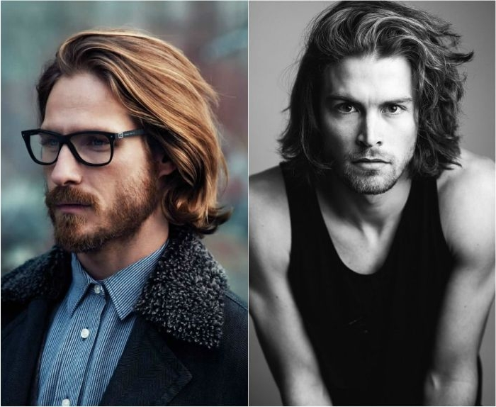 herren haarschnitt collage, zwei herrenfrisuren, männer mit haaren, die mittlerer länge sind