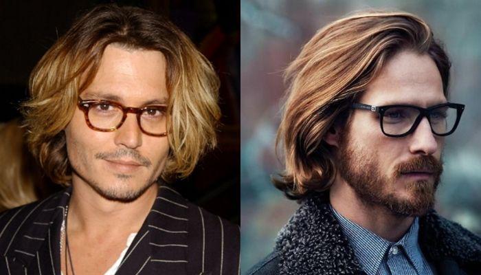 herren haarschnitt mittellange haare, johnny depp blonde haare männer mit brillen