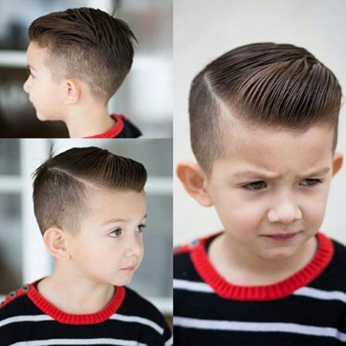 trendfrisuren 2018, collage mit drei fotos vom selben junge, der gerade beim frisör war