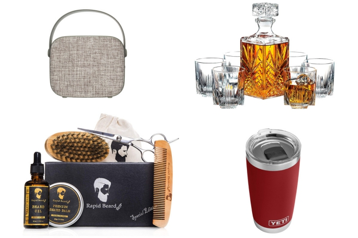 geburtstagsgeschenk für männer, was schenke ich meinem freund, kosmetik für bart, alkoholflasche aus glas