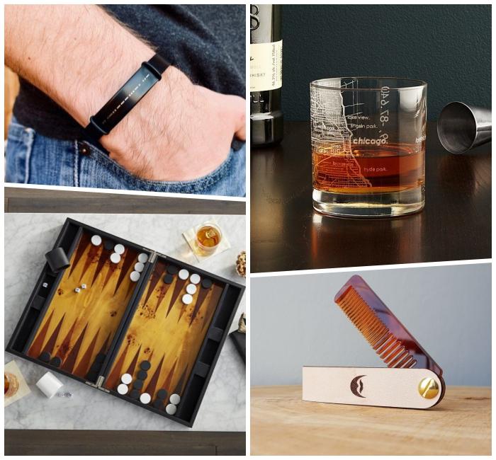 geburtstagsgeschenke für männer, die besten ideen, schwarzes armband, kamm für bart, glas mit gravur