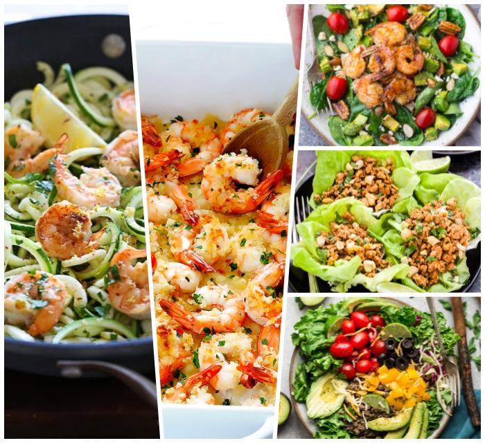 gerichte ohne kohlenhydrate, rezepte mit wenig kalorien die sat machen, garnelen mit zucchini, gesund essen