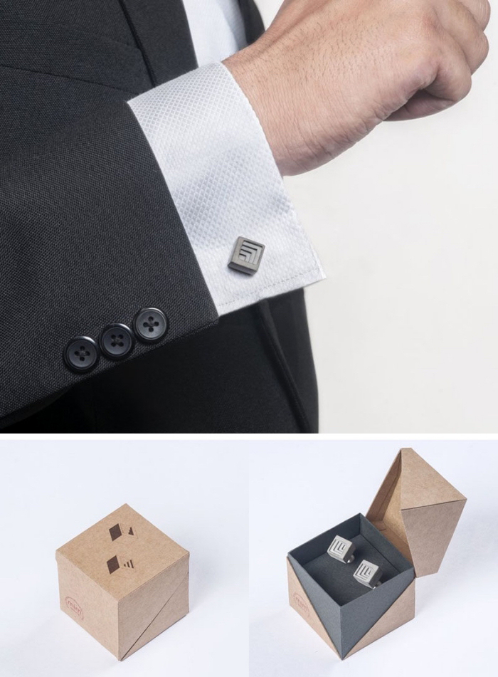 geschenk für den freund, silberne manschetten, box in beige und grau, accessoires für männer